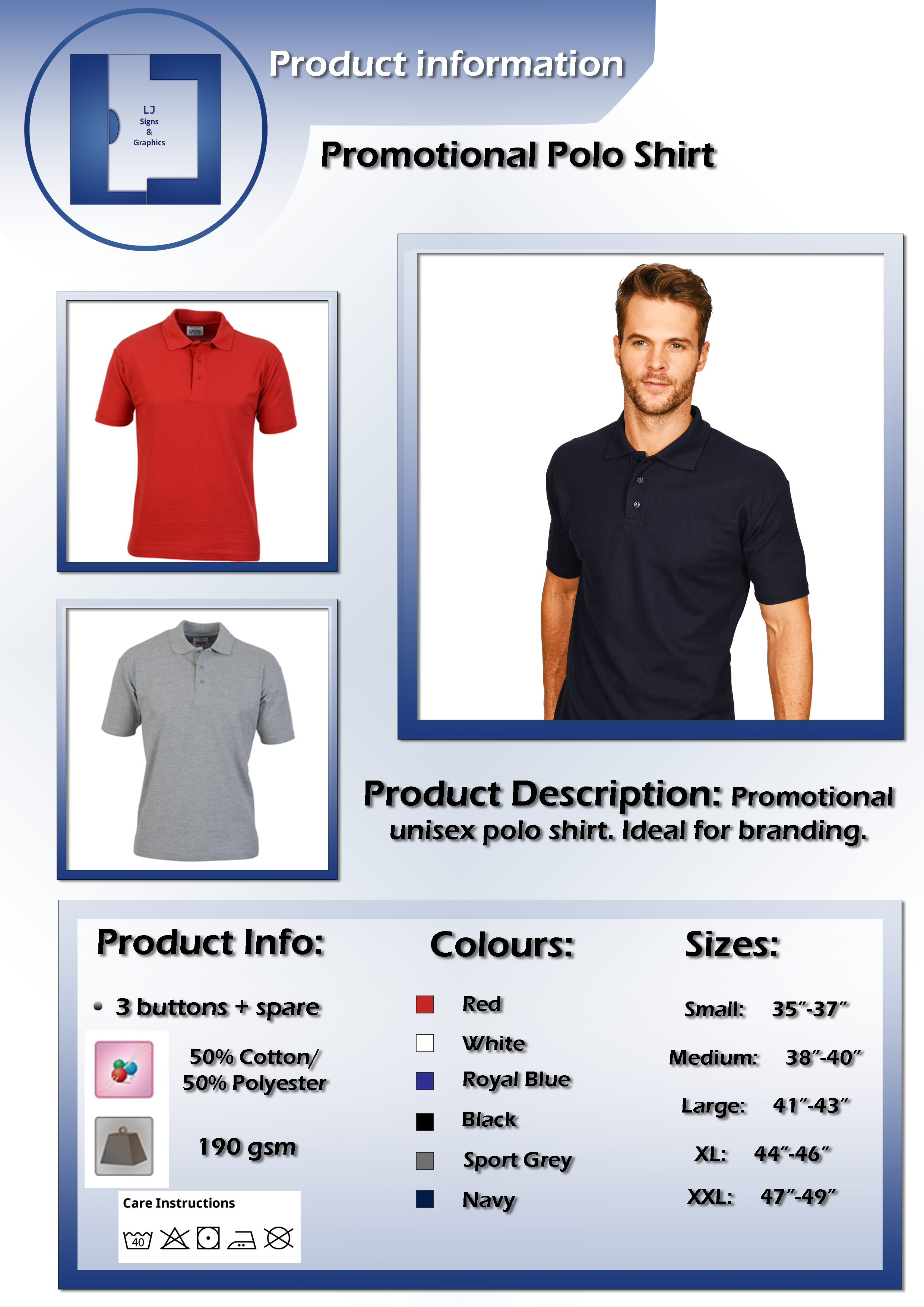 Product information sheet - Promotional Polo